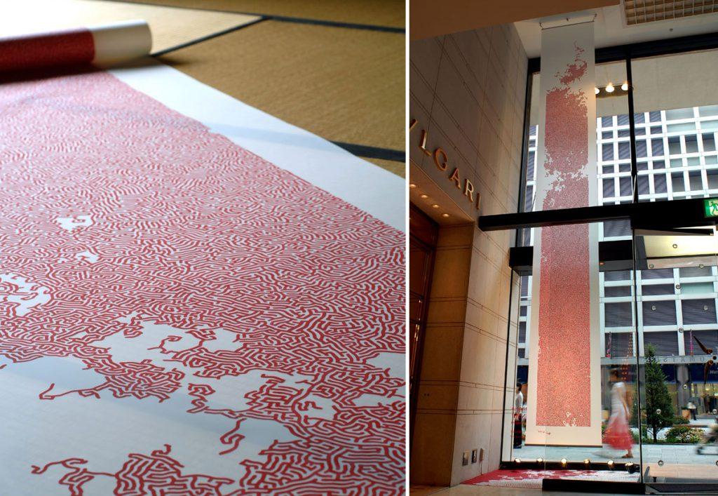 現代美術アーティスト・山本基が制作したギンザコマツのディスプレイ。