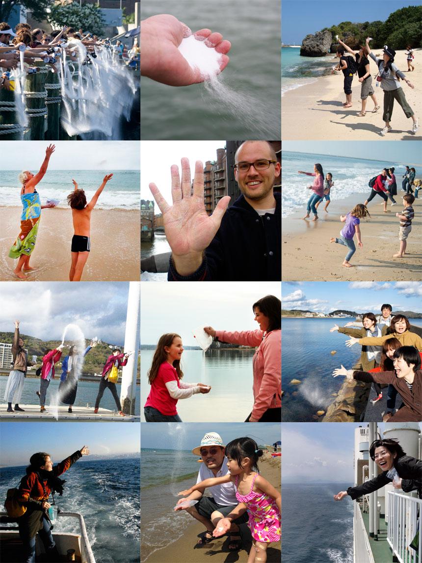 インスタレーション作品の塩を海に還すプロジェクト12枚
