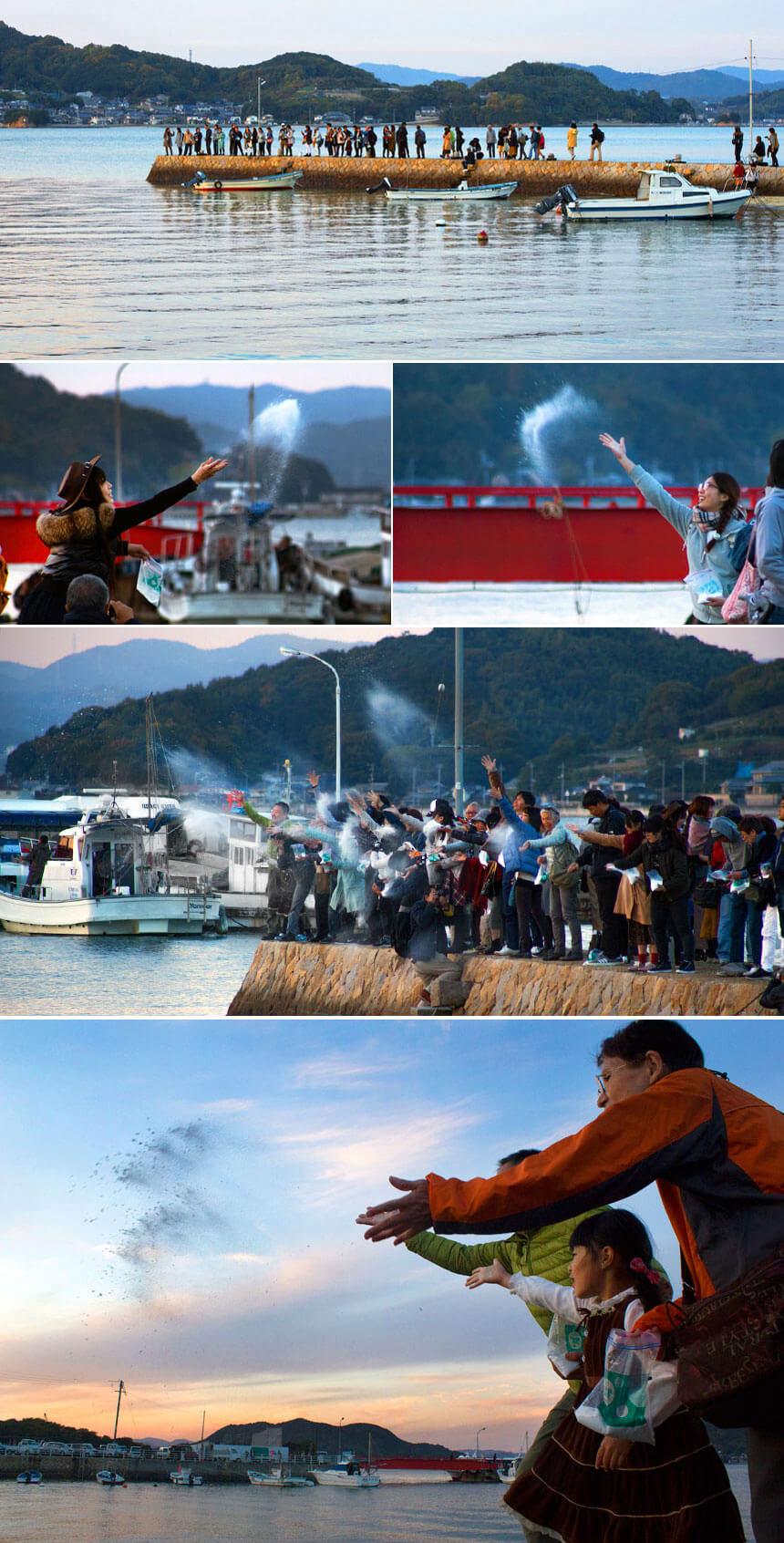 百島・福田港から山本基作品の塩を海に還す